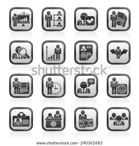 Human resource and employment icons  -vector icon set - stock vector