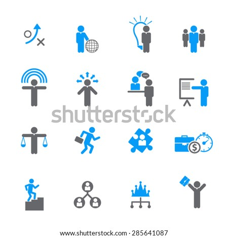 Human Resource, Business and Strategy Icons - stock vector