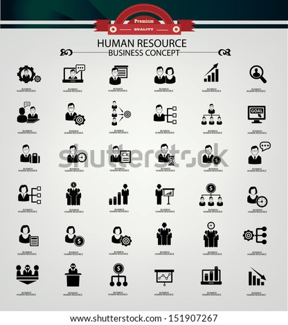 Human resource,business concept,icons,black version,vector - stock vector