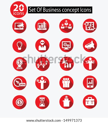 Human resource,Business concept icons,Red version,vector - stock vector