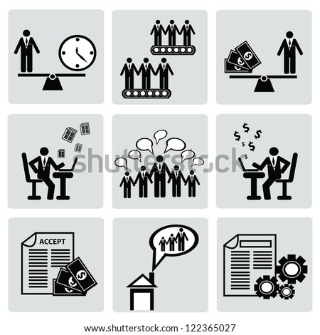 Human resource,Business man concept,icon set,Vector - stock vector