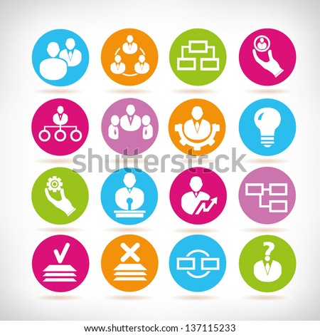 human resource, business management icon set, app icons - stock vector