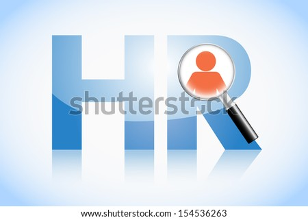 Human resource concept, HR text and magnifying glass - stock vector