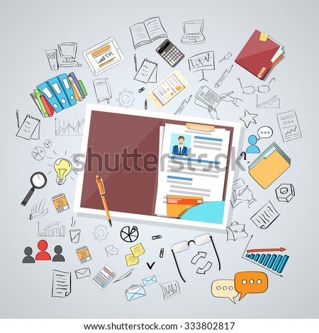 Human Resource Documents Curriculum Vitae Recruitment Candidate Job Position, CV Profile Business People Hire Concept Doodle Hand Draw Sketch Background Vector Illustration - stock vector