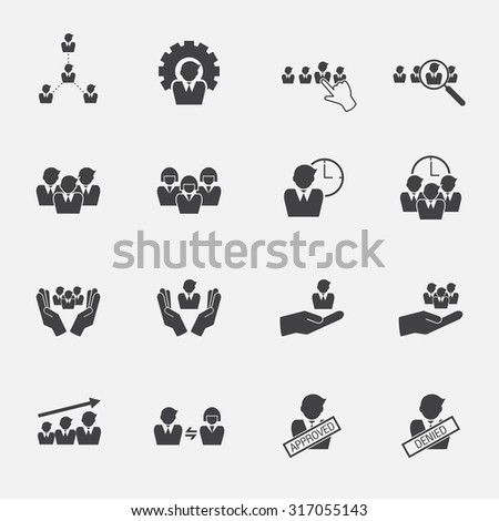 human resource icons set - stock vector