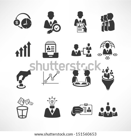 human resource management and consulting business icons set, vector set - stock vector