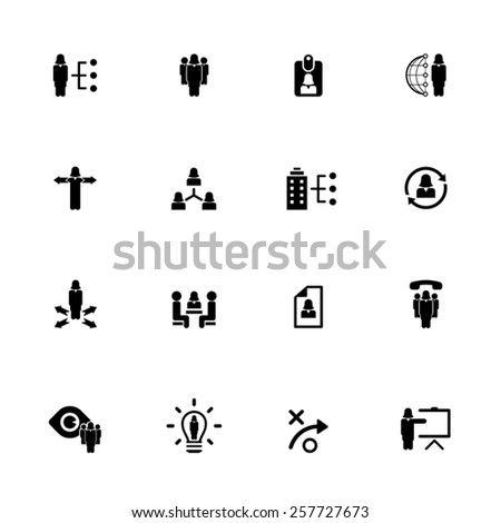 Human resource management icon set - woman, female characters icon set - stock vector
