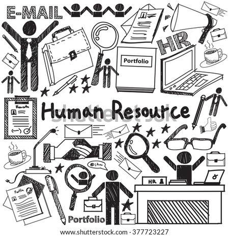 Human resource management in organization handwriting doodle icon sketch sign and symbol in white isolated background paper used for business education presentation title with header text (vector) - stock vector