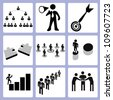 human resource management, personal consultant, organization icon set - stock vector