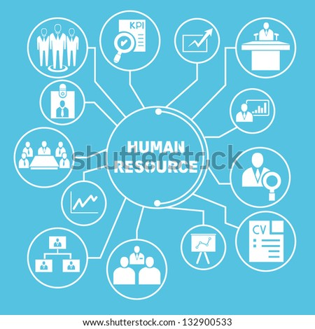 human resource network template, info graphics - stock vector