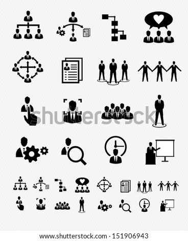 Human Resources and Business Management icons - stock vector