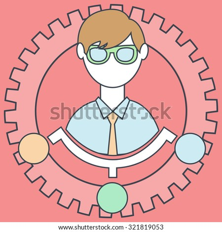 Human resources and management thin line icon - stock vector