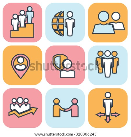 Human resources and management thin line icons set. - stock vector