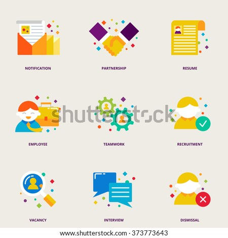 Human resources and partnership colorful vector icons set: resume, employee, teamwork, recruitment, vacancy, interview, dismissal - stock vector