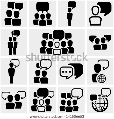 Human resources, business, social vector icon set on gray. - stock vector