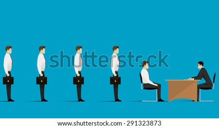 Human Resources concept: choosing the perfect candidate for the job. Vector - stock vector