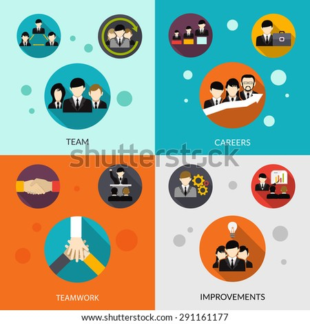 Human resources design concept set with team and career improvement flat icons isolated vector illustration - stock vector