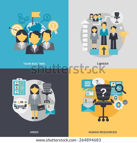 Human resources design concept set with team building career hired person flat icons isolated vector illustration - stock vector