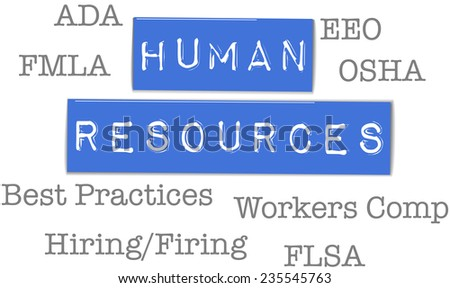 Human Resources government agency compliance HR acronyms - stock vector