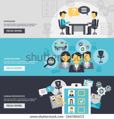Human resources horizontal banner set with interview team building elements isolated vector illustration - stock vector