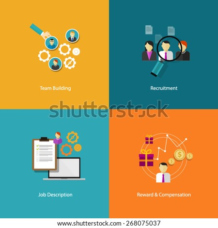 human resources icon set - stock vector
