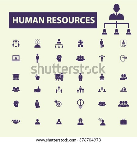 human resources icons, human resources concept, business human resources , management icons  - stock vector