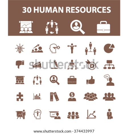 human resources icons, human resources concept, business human resources , management icons, signs vector concept set for infographics, mobile, website, application  - stock vector