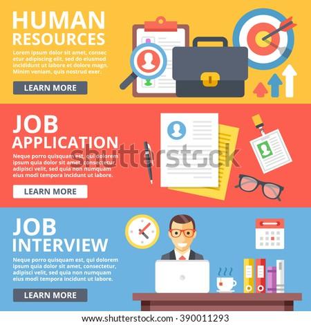Human resources, job application, job interview flat illustration set. Creative flat design elements and concepts for web sites, web banner, printed materials, infographics. Modern vector illustration - stock vector