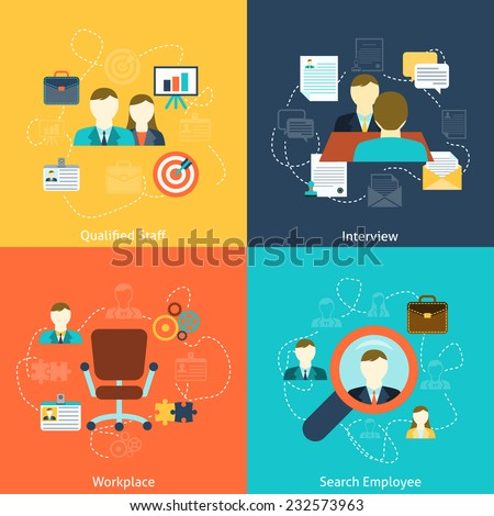 Human resources man woman personnel search selection and interviewing candidates four flat icons composition abstract vector illustration - stock vector