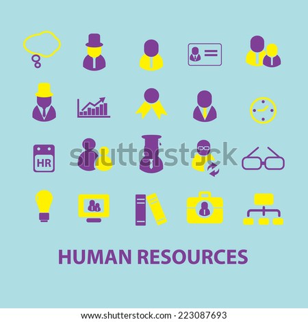 human resources, management, people isolated icons, signs, illustrations, silhouettes set, vector on background for web and mobile  - stock vector