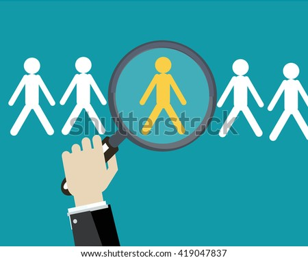 Human resources management select employee. - stock vector