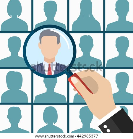 Human resources management select employee - stock vector