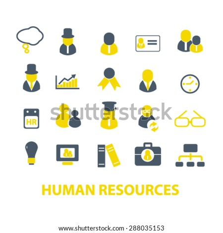 human resources, organization icons, signs, illustrations set, vector - stock vector