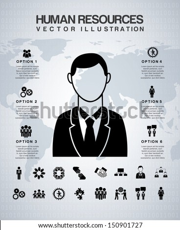 human resources over gray background vector illustration - stock vector