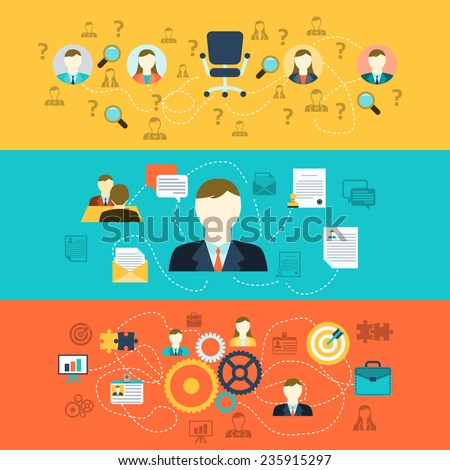 Human resources personnel selection interviewing recruiting training and integrating applicants horizontal banners set abstract flat vector illustration - stock vector