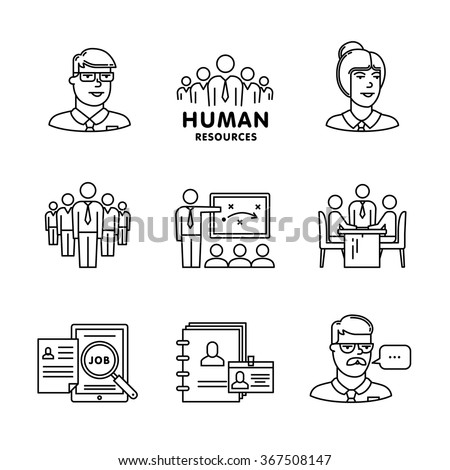 Human resources, team work and building signs set. Thin line art icons. Linear style illustrations isolated on white. - stock vector