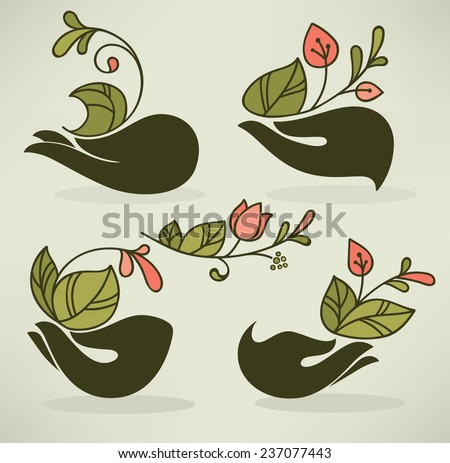 human's hands and green growing plants, vector floral illustration in naive hand drown style - stock vector