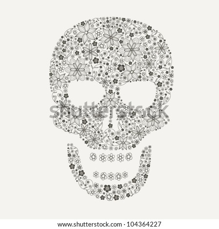 Human scull as abstract floral illustration on black background for design - stock vector