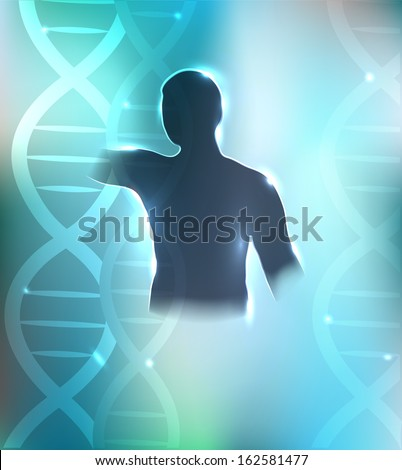 Human silhouette and DNA chains at the background. Health care design. Beautiful bright blue color. - stock vector