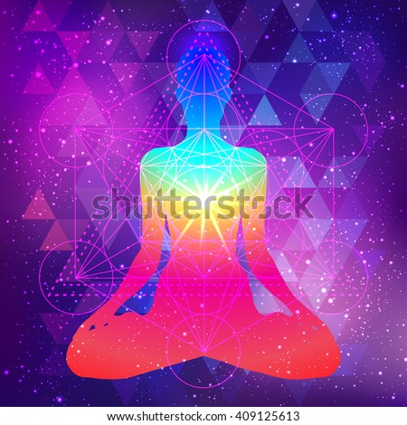 Human silhouette meditating or doing yoga. Metatrons Cube, Flower of life. Sacred geometry abstract background. Good design for textile t-shirt print, colorful poster background. Inner light. - stock vector