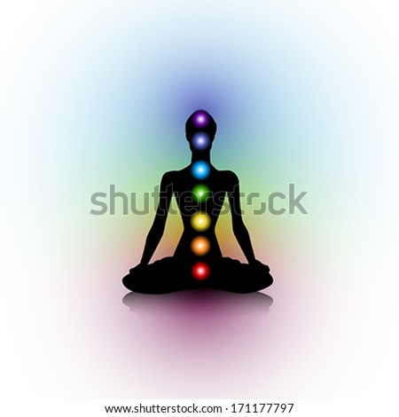 Human silhouette with chakras - stock vector