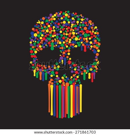 Human Skull from Color Paint Dots - stock vector