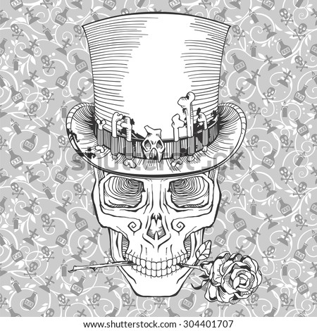 human skull in a top hat with a rose - stock vector
