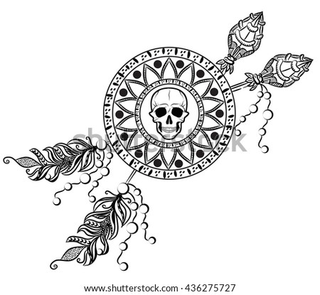 Human skull in medallion and arrows sketch. Boho style. - stock vector