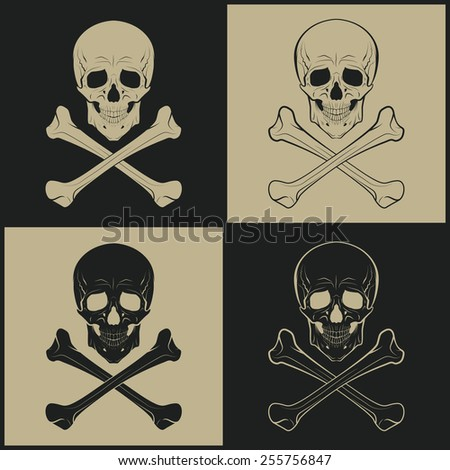 Human skulls and crossbones - set of four icons. Vector illustration.  - stock vector