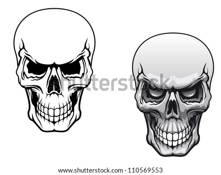 Human skulls in color and monochrome versions for tattoo design, such a logo. Jpeg version also available in gallery - stock vector
