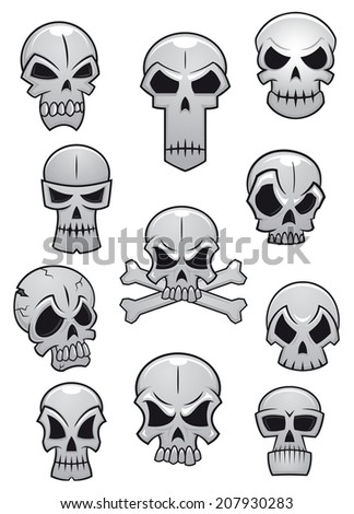 Human skulls set for Halloween holiday design or logo isolated on white background - stock vector