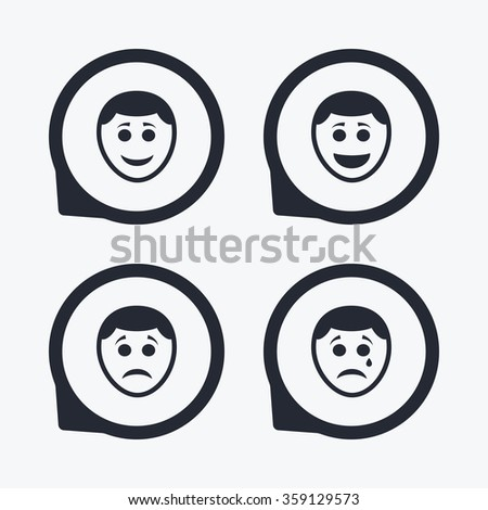 Human smile face icons. Happy, sad, cry signs. Happy smiley chat symbol. Sadness depression and crying signs. Flat icon pointers. - stock vector