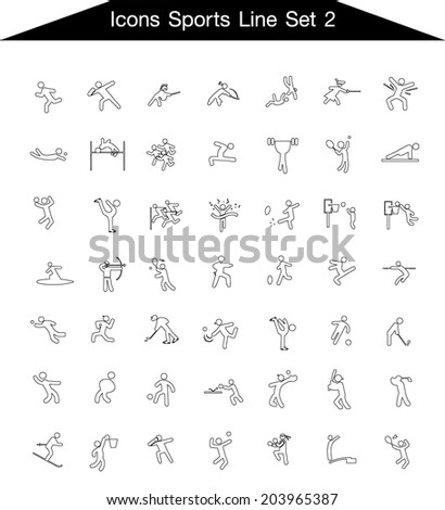 Human Sports Icon line Set 2 - stock vector