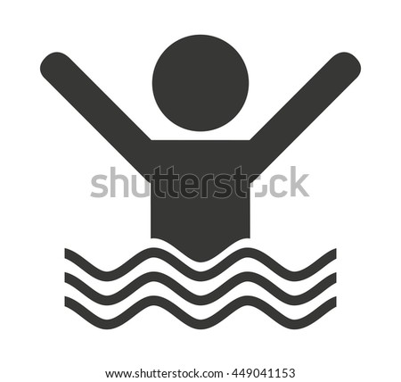 human swimming isolated icon design, vector illustration  graphic  - stock vector